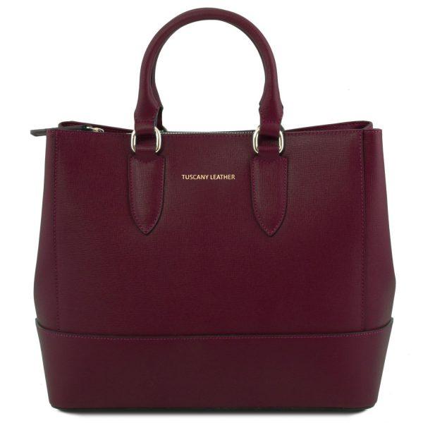 елегантна кожена чанта в бордо