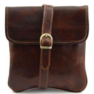 Кожена мъжка чанта за рамо JOE TL140987 тъмно кафява
