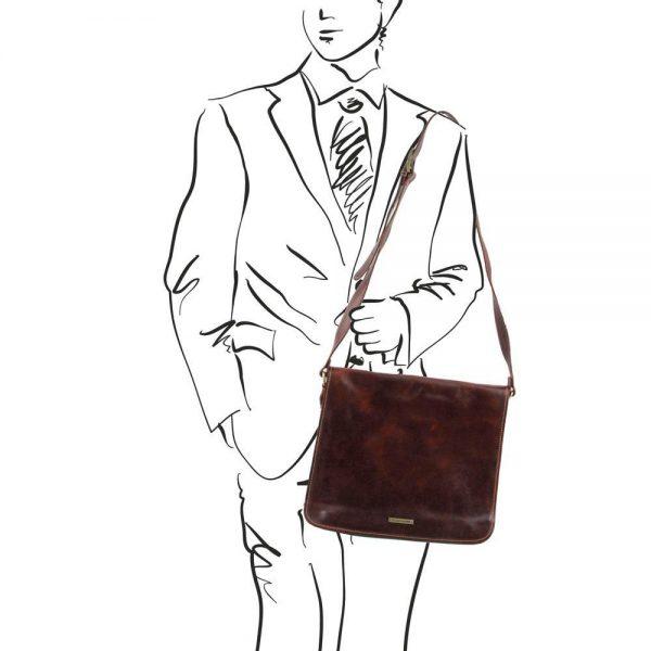 Кожена мъжка чанта за рамо MESSENGER DOUBLE TL90475-03