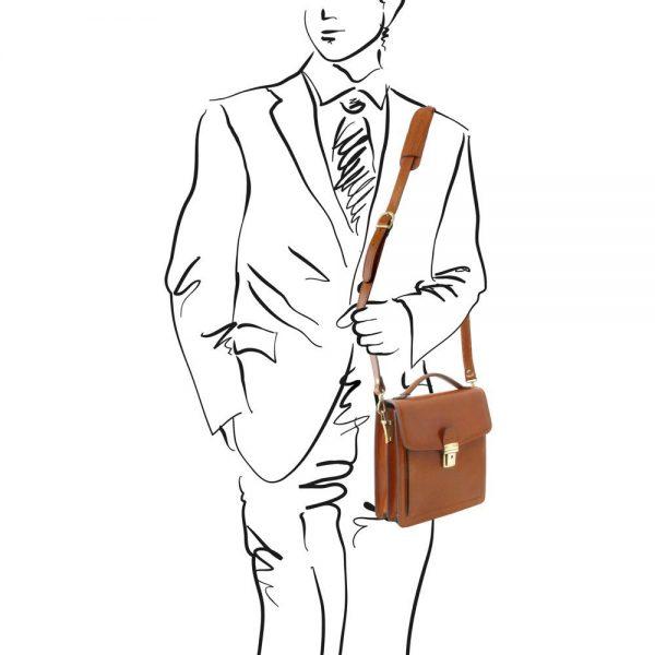 Мъжка кожена чанта за през рамо DAVID TL141425-04
