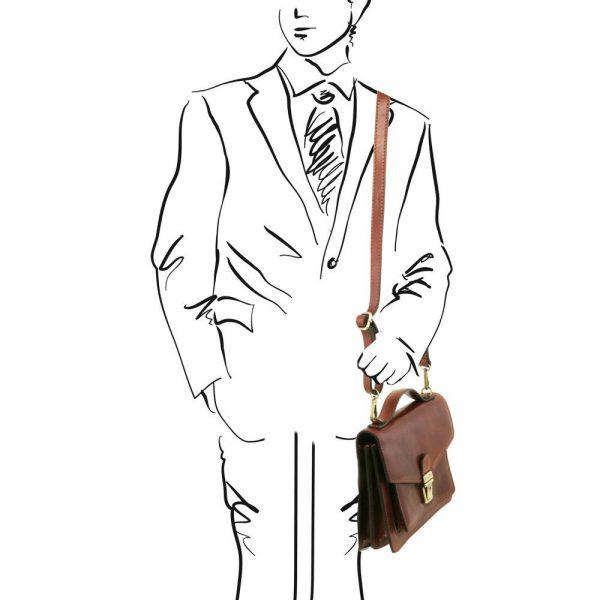Мъжка кожена чанта за ръка и рамо ERIC TL141443-08
