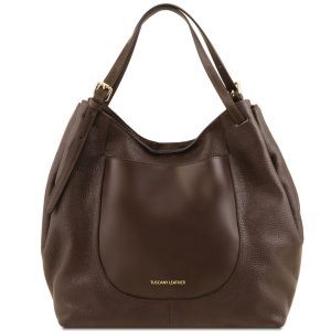 дамска кожена чанта от мека кожа в тъмно кафяво