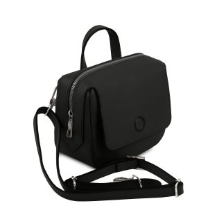 кокетна дамска кожена мини чанта в черно