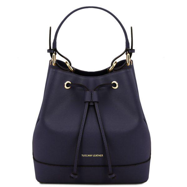 красива дамска кожена чанта кош в тъмно синьо