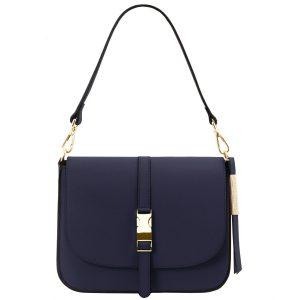 изискана дамска кожена чанта в тъмно синьо