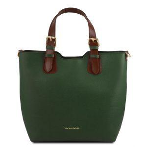 голяма елегантна кожена чанта в тъмно зелено
