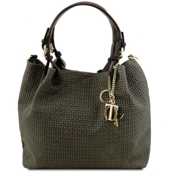кожена дамска чанта с принт плетеница в тъмно зелено