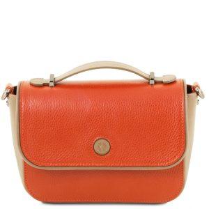 дамска кожена чанта тип клъч в цвят бранди