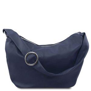 кожена дамска чанта в стил хобо в тъмно синьо