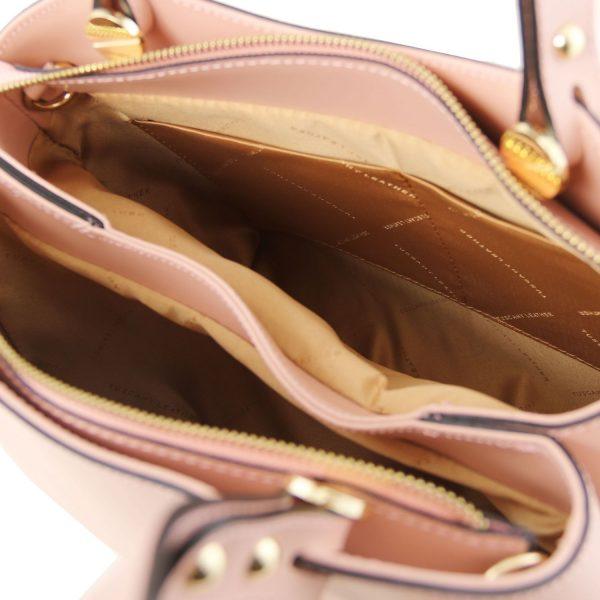 кожена италианска чанта в балетно розово