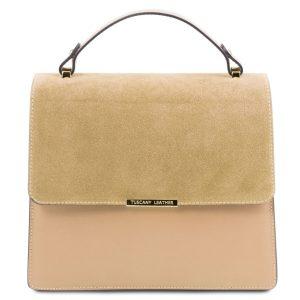 дамска кожена чанта с верижка