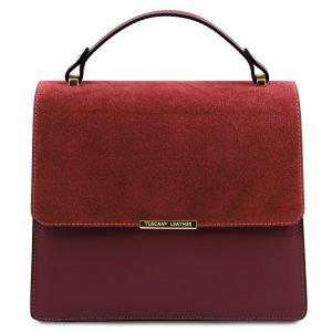 дамска кожена чанта с метална верижка в бордо