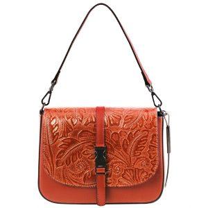 дамска кожена чанта с мотив на цветя в цвят бренди