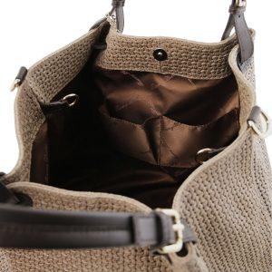 модерна дамска кожена чанта с принт плетеница в цвят тъмно таупе