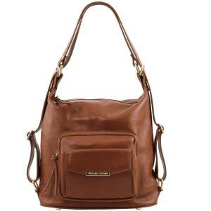 чанта раница от естествена кожа в цвят канела