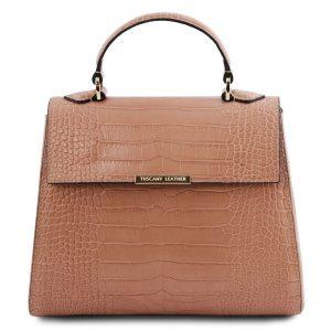 дамска чанта от естествена кожа крокодилски щамп цвят Nude