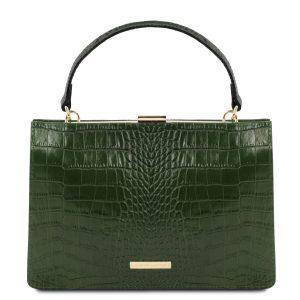 изящна кожена дамска чанта с крокодилски принт в тъмно зелено