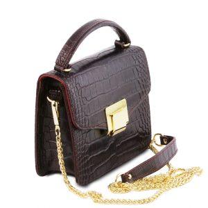 малка кожена чанта с крокодилски принт в тъмно червено