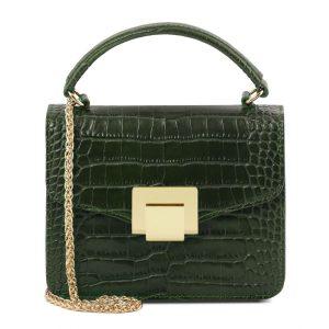 малка кожена чанта с крокодилски принт в тъмно зелено