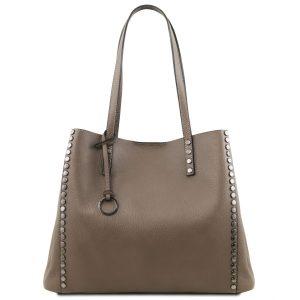 обемна дамска кожена чанта в бежово