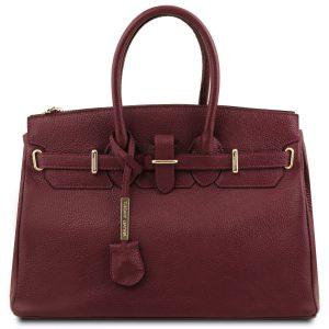 кожена ръчна чанта в бордо