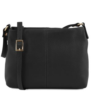 ежедневна дамска кожена чанта в цвят в черно