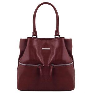 дамска кожена чанта за рамо в цвят бордо