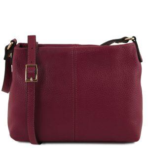 ежедневна дамска кожена чанта в бордо