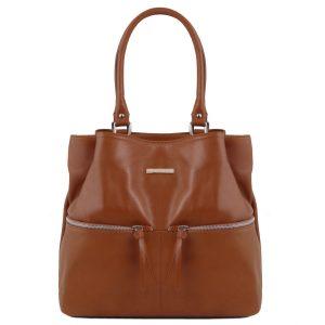 дамска кожена чанта за рамо в цвят канела
