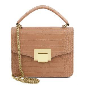 кожена чанта за рамо с верижка за дръжка