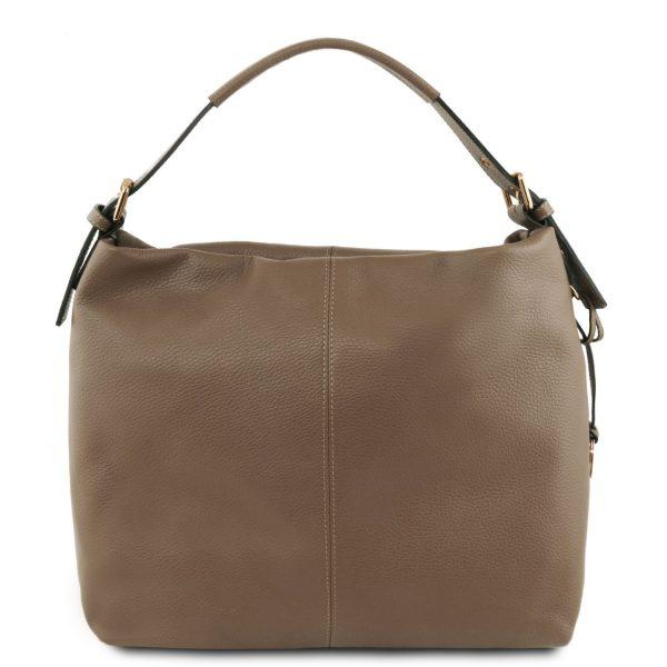 удобна италианска дамска кожена чанта в тъмно бежово