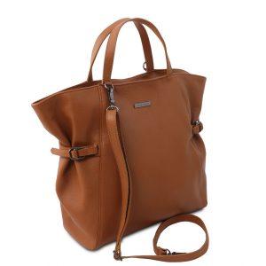 голяма кожена дамска чанта в коняк