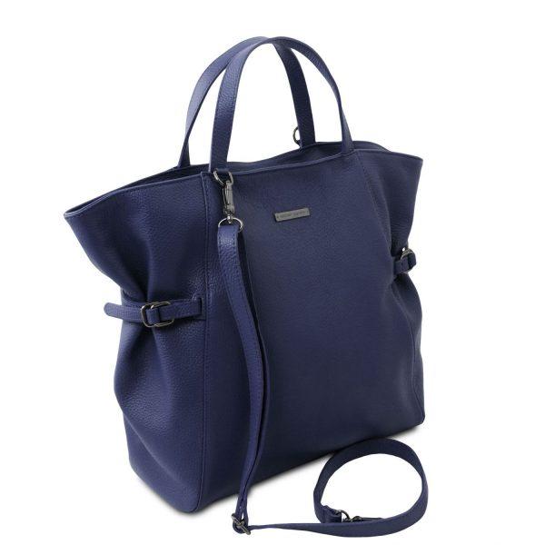 голяма кожена дамска чанта в тъмно синьо