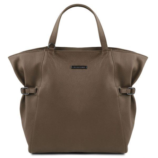 голяма кожена дамска чанта в тъмно таупе