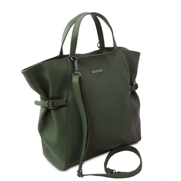 голяма кожена дамска чанта в тъмно зелено