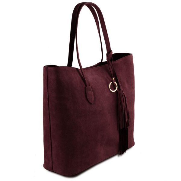 кожена дамска чанта от велур в бордо
