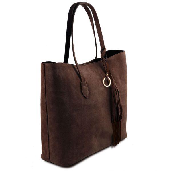 кожена дамска чанта от велур в тъмно кафяво