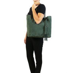 кожена дамска чанта от велур в тъмно зелено