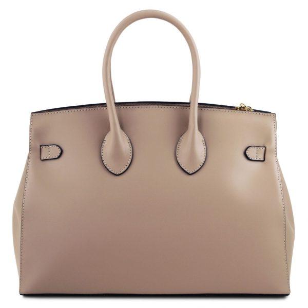 елегантна италианска кожена чанта в таупе