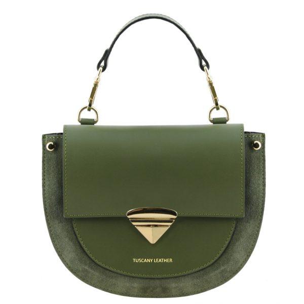 кожена дамска чанта в маслинено зелено