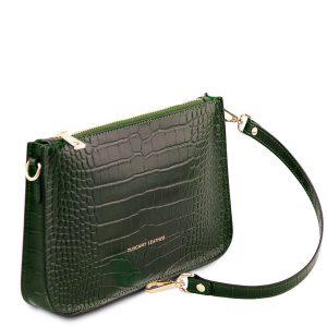 дамски кожен клъч с крокодилски принт в тъмно зелено