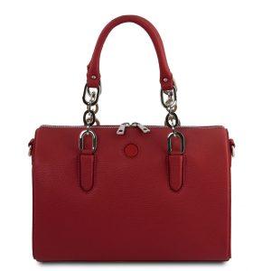 дамска кожена чанта със заоблен дизайн в цвят червено
