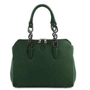 луксозна дамска кожена чанта в зелено