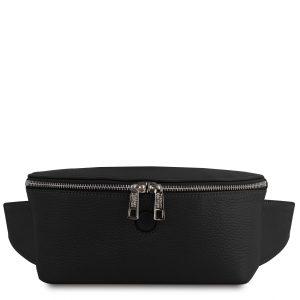 дамска кожена чанта за кръст в черно