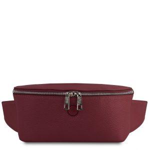 дамска кожена чанта за кръст в бордо