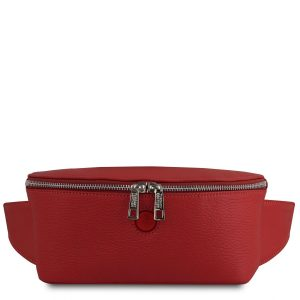 дамска кожена чанта за кръст в червено