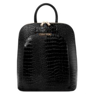 дамска кожена раница с крокодилски принт в черно