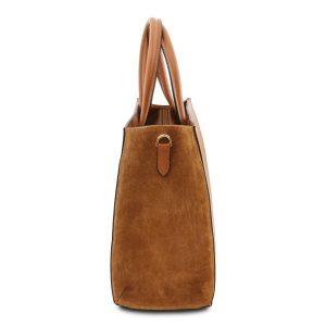 елегантна кожена чанта с висока основа в цвят коняк