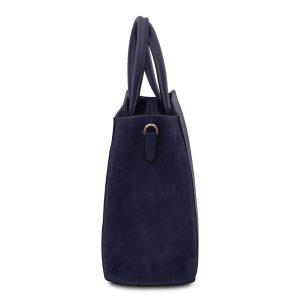 елегантна кожена чанта с висока основа в тъмно синьо