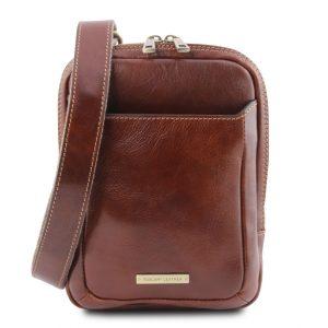 мъжка кожена чанта в кафяво